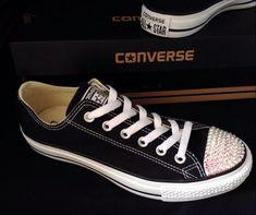 Black Converse Low Top Customized Canvas Bling Chuck Taylor w  Swarovski Crystal  Rhinestones All Sta 7c26622048