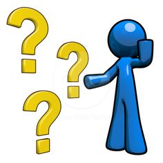 Question Mark Image – Blue Man – Three Question Marks Stock Image