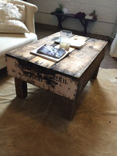 Vintage crate coffee table. Each table is unique and different. I can add a specific finish or paint as desired.