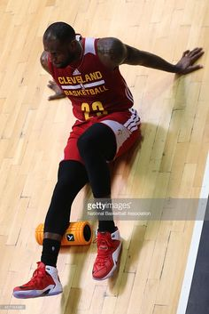 LeBron James #23 of the Cleveland Cavaliers stretches during practice at Flamengo Club Borges de Medeiros as a part of NBA Global Games on October 10, 2014 in Rio de Janeiro, Brazil.