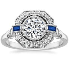 Platinum, Ostara, Sapphire, and Diamond Ring from Brilliant Earth   Gorgeous Vintage Engagement Ring