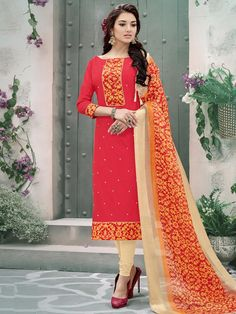 Unique red and cream cotton wedding wear straight cut salwar suit. The beautiful border work and mirror work on the attire adds a sign of beauty statement to your look. Comes with matching bottom and dupatta. #mydesiwear #onlineshop #ethnicwear #womenstyle #womenfashion #salwarsuits #trendingnow #festiveseason #Diwali #sapnokidiwali #apnokidiwali