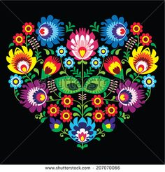 Polish, Slavic folk art art heart with flowers on black - wzory lowickie, wycinanka  by RedKoala #lowicz #Poland