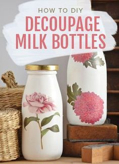 How to DIY Decoupage Milk Bottles, vintage wedding DIY crafts and decor ideas. Shop the video > (Milk Bottle Gift) Diy And Crafts Sewing, Crafts To Sell, Diy Crafts, Mason Jar Crafts, Bottle Crafts, Mason Jars, Bottles And Jars, Milk Bottles, Milk Jars