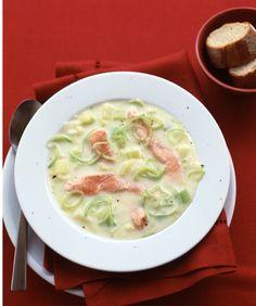 Prei soep met zalm