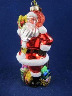 2012 Radko Sparkle Bright Christmas Santa Gifts/Presents/Toys Glass Ornament NWT