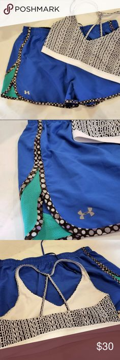 UNDER ARMOUR RUNNING SHORTS AND LOGO SPORTS BRA UNDER ARMOUR RUNNING SHORTS AND LOGO SPORTS BRA. Shorts are cobalt and teal with polka dot accents down the sides and then the UA sports bra is repeating logos. Shorts are XL and the bra is L Under Armour Pants Track Pants & Joggers