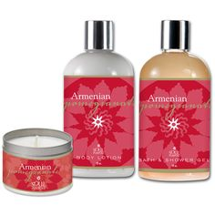 ARMENIAN POMEGRANATE BATH AND BODY GIFT SET Contains a Bath and Shower Gel, Moisturizing Body Lotion, and Tin Candle. Scented with Persian pomegranates blended with passion fruit, melons, mango, pamplemousse, mandarin, guava, papaya and pear.  Item No:	SP781