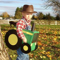 John Deere costume...would have to paint it red for a Massey Ferguson or orange for Alice Chalmers