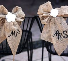 DIY Burlap & Lace Wedding Chair Decoration & other great wedding ideas Burlap Lace, Hessian, Burlap Bows, Lace Ribbon, Chic Wedding, Our Wedding, Wedding Ideas, Dream Wedding, Wedding Stuff