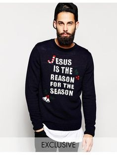 Reclaimed Vintage Christmas Jumper With Jesus Is The Reason - Blue
