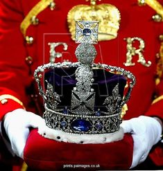 Queen Elizabeth II's crown for the State Opening of Parliament in the House of Lords.
