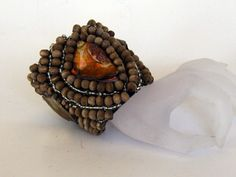 DBCUFF coffee wide exotic cuff gem stones wood and glass beads ZAR 495