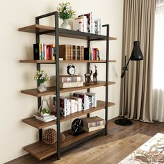 Tribesigns Bookshelf, Vintage Industrial Style Bookcase 72 H x 12 W x Inches, Rustic Walnut Tribesigns Vintage Industrial Bedroom, Industrial Interior Design, Industrial Bookshelf, Bookshelf Styling, Industrial Storage, Industrial Living, Rustic Bookcase, Industrial Style Furniture, Bathroom Vintage