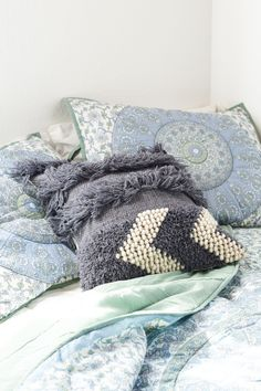 Blue Fringe Stripe Pillow - Earthbound Trading Company