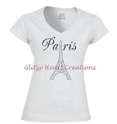 Paris Shirt, Rhinestone T shirt, Paris and Eiffel Tower Design, Decorated Crystal Shirt, Womens Tee, Heat tshirt, Crystal Tee Shirt by GlitzyHeartCreations on Etsy Gymnastics Shirts, Gymnastics Outfits, Paris Shirt, Rhinestone Shirts, Tower Design, Lady V, Cool Tees, V Neck T Shirt, To My Daughter