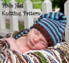 Long Tail Pixie Baby Hat Knitting Pattern in 3 Sizes  by 4aSong, $4.00