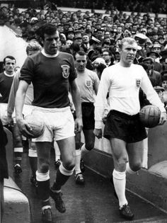 Mike England & Booby Moore. Wales v England 1965