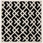 Dhurries Black/Ivory 6 ft. x 6 ft. Square Area Rug