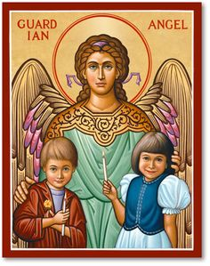 He shall give his angels charge over you to keep you in all your ways (Ps. 91:11). Bring comfort and serenity to your child's bedroom or playroom with this colorful portrait of the Guardian Angel watching over his two charges.