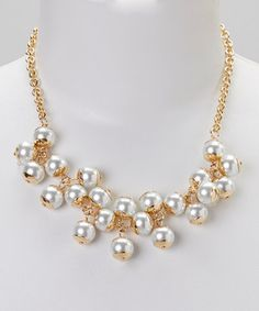 Love this Pearl & Gold Triple Twisted Bib Necklace by Sorta Southern Boutique on #zulily! #zulilyfinds