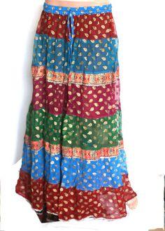 Gold Color Thread Work Skirt