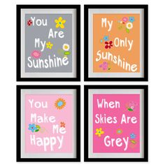 You Are My Sunshine Nursery Art Print  Grey by MadeForYouPrints, $47.95