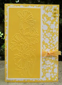 hand crafted card from Christie's Creative Corner: Flower Garden Embossing Folder Card ... monochromatic chromium yellow ... good design take on the mood of the main color: sunny and bright ... Stampin' Up!