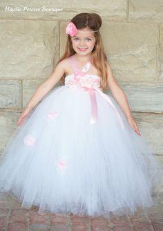 Sale Elegant White/ Pink  Silk Flower Girl Couture Tutu Dress-wsilk/satin roses,lace -- perfect for weddings, pageants, birthdays, portraits. $73.00, via Etsy.