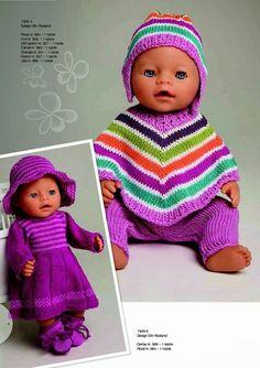 Ideas For Knitting Baby Girl Sweater Doll Clothes Knitting Dolls Clothes, Crochet Doll Clothes, Knitted Dolls, Doll Clothes Patterns, Baby Born Clothes, Girl Doll Clothes, Girl Dolls, Baby Dolls, Knitting Baby Girl