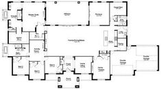 Floor Plan Friday: 5 bedroom acreage home Today I found this large 5 bedroom, 3 bathroom home which would suit a large block on acreage. 5 Bedroom House Plans, Dream House Plans, House Floor Plans, Home Design, Plan Design, Interior Design, The Plan, How To Plan, Plan Garage