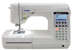 Juki has been around for a long time and the company makes a pretty good sewing machine.  They also appear to get a lot of repeat buyers, which is always a good sign.  The HZL-F300 is a computerized sewing machine that sews smoothly, is sturdy, and is both powerful and quiet.  It also has a host of great features.  Read the review before you buy. Sewing Machine Brands, Sewing Machine Reviews, Juki, Janome, Repeat, Sign, Pretty