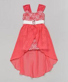 Coral Floral Belted Hi-Low Dress - Toddler & Girls