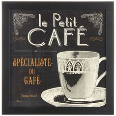 Tangletown Fine Art 'Flavors of France II' by Pela Studio Vintage Advertisement on Wrapped Canvas Kitchen Canvas, Kitchen Prints, Kitchen Art, Kitchen Ideas, Coffee Art, Coffee Cups, Coffee Beans, Coffee Shop, Coffee Time