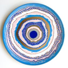 Pink Agate Decor – Pink and Blue – Decorative Plate – Wall Decor – Agate Decor – Spiral Decor – Mandala Decor – Agate Wall Hanging by biancafreitas on Etsy Plate Wall, Plates On Wall, Evil Eye Art, Agate Decor, Handmade Wall Clocks, Minimal Drawings, Spiral Art, Clay Wall Art, Blue Wall Decor