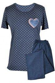 MUZZY nightwear, piżama, koszulka + rybaczki, granatowa w groszki, serce, więcej na www.muzzy.pl/sklep