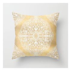 White Gouache Doodle On Gold Paint Throw Pillow ($20) ❤ liked on Polyvore featuring home, home decor, throw pillows, white home decor, gold home accessories, gold accent pillows, white throw pillows and gold home decor