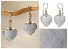 Lavender Jade Heart Shaped Sterling Silver Earrings - Lilac Love Immemorial | NOVICA