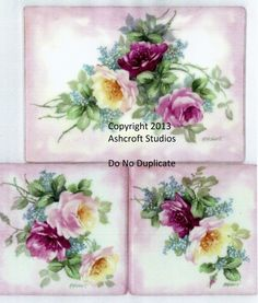 Roses and Forget Me Nots 3 Tiles - Ashcroft Studios