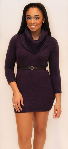 "Bundle up with this chic Purple Sweater Dress! PLUS get 20% of with coupon code ""love20"" <3 http://kalynbraun.com/products-page/clothes/dresses/purple-sweater-dress/"