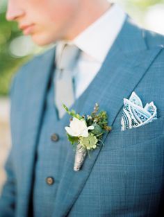 Paisley pocket square and a blue suit: Photography : Kristin La Voie Photography Read More on SMP: http://www.stylemepretty.com/little-black-book-blog/2016/08/01/rustic-glam-wedding-inspiration-win/