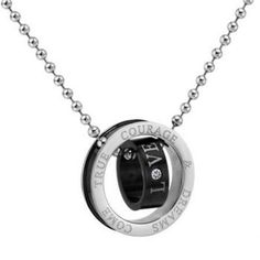Cheap Wholesale Retro Style Double Ring Letter Print and Rhinestone Inlaid Pendant Necklace For Couples (BLACK) At Price 5.28 - DressLily.com
