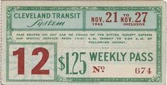 Weekly pass from Cleveland (Ohio) Transit System (1943)