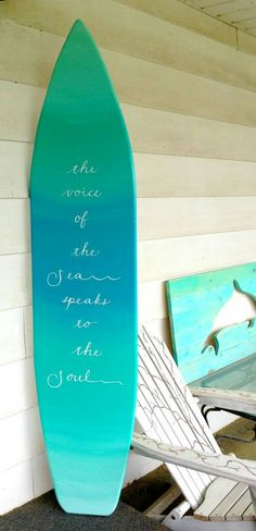 99b19559ce17 6 foot wood surfboard wall art in an light ocean ombre effect with quote  sign