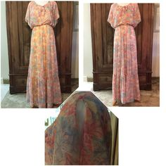 Vintage 70's Candi Jones California Dress Sheer dress, comes with separate yellow slip that it can be worn with or without. Dress is very sheer without slip. Bottom pic shows split flutter sleeves. Excellent condition.  One owner who only ever wore it once in a wedding. All measurements are taken flat then double and it is suggested you know your measurements when taken that way. Tag says size 3, measurements look more like a 4?  Bust: 32 inches Shoulder: 15 inches Waist: 28 inches Length…