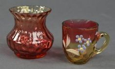 Two Pieces Amberina By New England Glass Co.