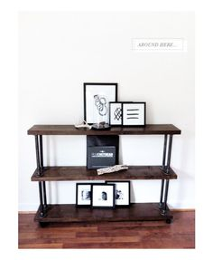 LIVING ROOM: DIY shelving unit using wooden boards & metal poles, both available from Homebase.