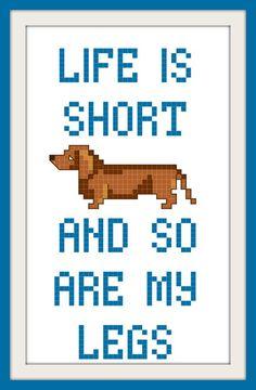 Dachshund Wiener Dog Funny Cross Stitch Pattern