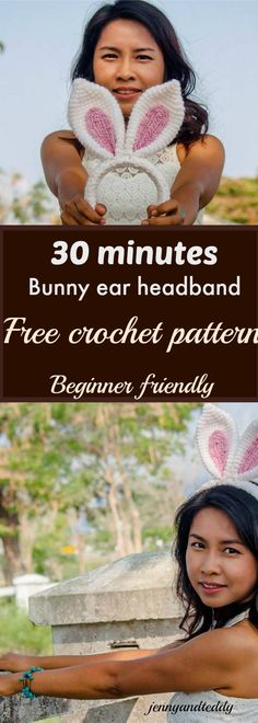30 minutes crochet bunny ear headband free crochet pattern.  It's perfect for last minutes easter handmade gift idea. Also perfect for beginner! Use single crochet and chain.