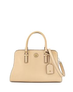 V2CBJ Tory Burch Robinson Colorblock Curved Satchel Bag, Toasted Wheat/Gray